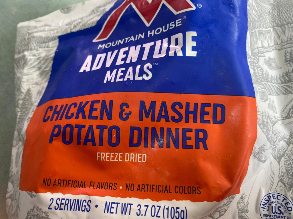 Freeze dried chicken and mashed potatoes